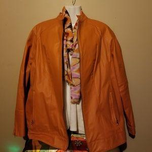 Ladies Burnt Orange Leather Jacket